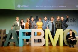 Daniela Vey und das Moderations-Team auf der AllFacebook Marketing Conference #AFBMC in Berlin