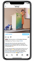 Instagram-Beitrag über meinen Vortrag auf der AllFacebook Konferenz mit meinen Kindern auf der Bühne